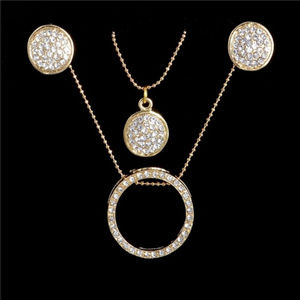 Jewelry - Gold Multilayer Crystal Circle Jewelry Gift Set